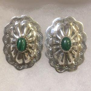 TT Sterling Silver Malachite Large Post Earrings